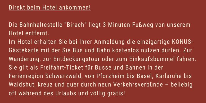 KONUS- Gästekarte um kostenlos Bus und Bahn zu fahren im Schwarzwald