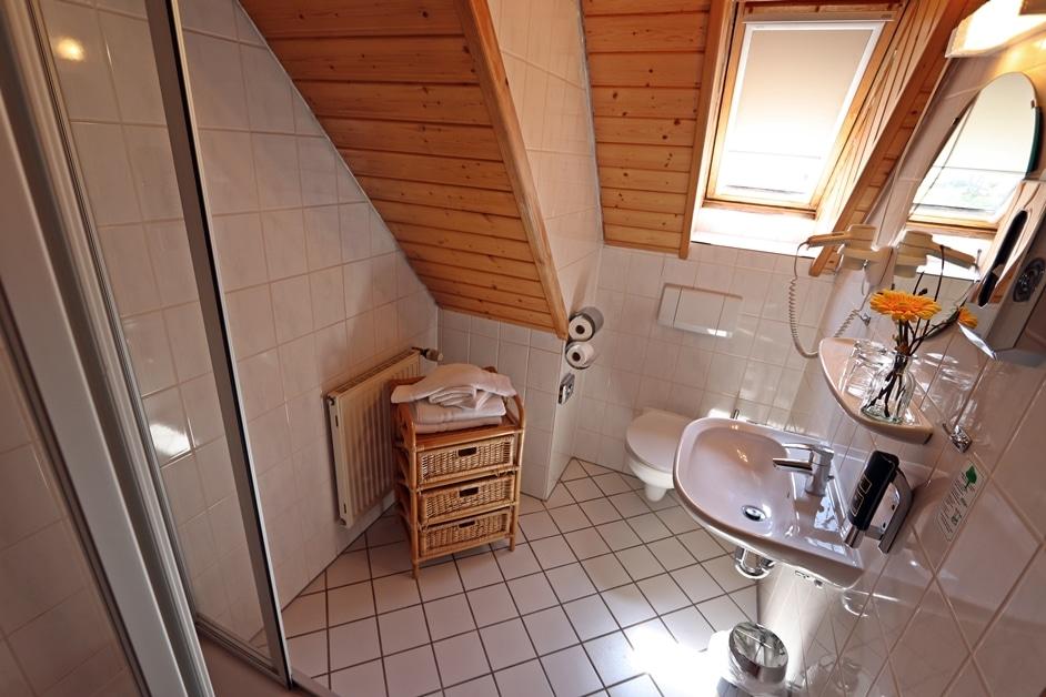 Ferienwohnung Bienenwabe Badezimmer mit Dusche 2