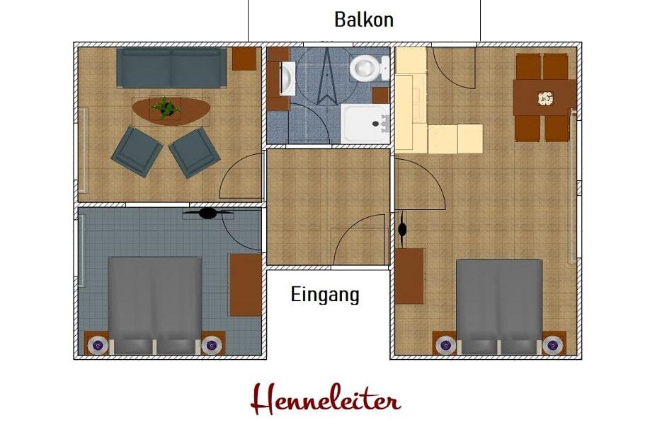 Grundriss Ferienwohnung Henneleiter